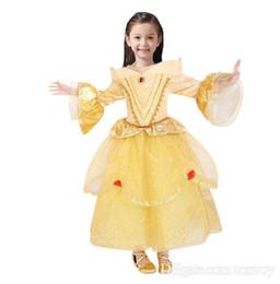 Wholesale Chinese Princess Girl Costume - flower girls dresses Princess Belle Dress Party Dress Kids Girls Tulle Tutu Lovely Skirts Costume Baby Girls Formal Dress Costume GD33