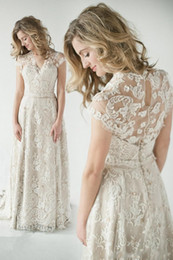 2017 Lace Wedding Dresses A Line V Neck Vintage Inspired Dress Glamorous With