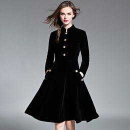 Wholesale wholesale black velvet - Qualified Vintage Velvet Woman's Dress British Style Female A-Line Midi Dress Stand Collar Full Sleeve Vestidos