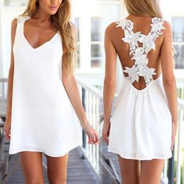 Wholesale Playsuit Dresses - Free shipping Newest summer UK size Womens Sexy Mini Playsuit White dress Summer Shorts Beach Sun Dress white backless lace dress