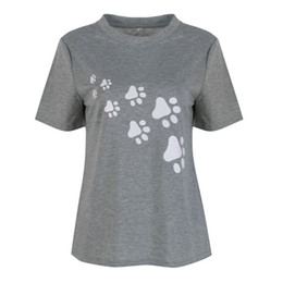 Wholesale Paw Prints T Shirts - Wholesale- Women Cat Paws Print T Shirt Cotton Casual Funny T Shirt For Lady Tee Hipster gray Tops S1