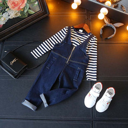 Wholesale Shirt Suspenders - Brand Kids Clothing Girls Clothes Girls Outfits New Girl casual Suit stripe T-shirt + Jeans Suspenders Thouser pants 2pcs Children set A1251