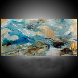 Wholesale Landscape Ocean Oil Painting - KGTECH Contemporary Seascap Art Blue Ocean Art Modern Acrylic Paintings Canvas Handmade Wall Art Unframed Size 60x120cm (24x48inch)