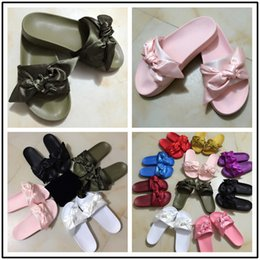 Wholesale Girl Bow Flats - Fenty Leadcat Rihanna Shoes with Bow Women Slippers Indoor Sandals Girls Fashion Scuffs 2017 New Arrival Bow Slides sandal chinela