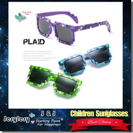 Wholesale Radiation Protection - Children Boys Girls Kids Plaid Sunglasses Anti UV Sunshades Glasses Fashion Beach Eye Wear Radiation Protection HD Resin