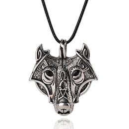 Wholesale Wholesale Wolf Head Pendant Necklace - Wholesale- Norse Vikings Pendant Necklace Norse Wolf Head Necklace Original Animal Jewelry Wolf Head hange XL008