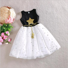 Wholesale Cheap Cotton Clothing For Girls - Children Clothes Baby Girls Cotton Dresses 2017 Summer Princess Stars Black White Mixed color Dress for Kids Cheap Price