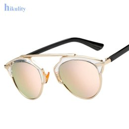 Wholesale Male Sunglass - Wholesale-Cat Eye Sunglass Men or Women Luxury Brand Sunglasses Female Male Sun Glasses 2016 Pink Rose Gold Sunglass Lunette Femme Oculos