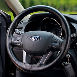 Wholesale Stitch Car Covers - Hand stitched Car Steering Wheel Cover Cap Two layers of Anti-slip comfortable steering wheel Car Decoration Auto Accessories free shipping