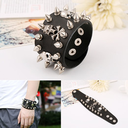 Wholesale Skull Spike Punk - Unique Design Rock Spikes Rivet Gothic Skeleton Skull Punk Biker Wide Cuff Leather Bracelet For Men Women