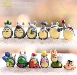 Wholesale Gnome Set - 12pcs Set Cartoon My Neighbor Totoro Mei DIY Resin Fairy Craft Miniature Japanese Cute Anime Micro Gnome Terrarium Figures Gift Toy