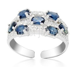 Wholesale Natural Blue Sapphires - Sapphire ring Natural real blue sapphire ring 925 sterling silver rings Free shipping Fine jewelry For men or women #17031707