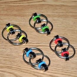Wholesale Mini Key Chain Cube Toys - Mini Decompression Key Ring Chains Toys Relieve Stress Metal Hand Spinner Fidget Spinner Toys Finger Cube Children Adults Toys