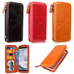 Wholesale Brand S Handbags - Large Capacity Universal Mobile Phone Wallet Bag Case with Metal Zipper Card Slots Cash Pocket Magnetic Holster,S and L Size