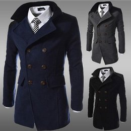 Wholesale worsted wool coat double breasted - Wholesale- High quality men autumn winter casual woolen double breasted long section coats and jackets double breasted wool blends for men