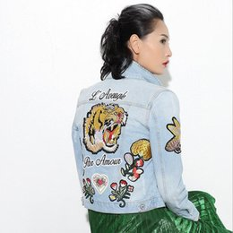 Wholesale Floral Jean Jacket - Wholesale- [TWOTWINSTYLE] 2017 Autumn New Tiger Flowers Embroidery Jean Denim Jacket Women Basic Coat Fashion Streetwear Clothing