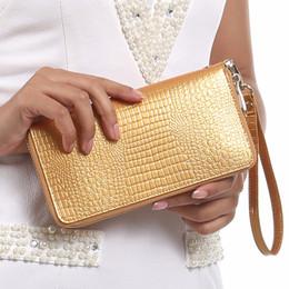 Wholesale Walet Women - Women Alligator Leather Wallets Crocodile Purse Female Card Holder Luxury Money Dollar Bag Ladies Gold Long Walet Girls Wristlet