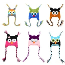 Wholesale Crocheted Owl Hats - Newborn Baby Hats,Fashion Cute Owl Thick Cotton Winter Beanie Caps for 0-6 months Baby Girl