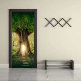 Wholesale fantasy decals - 77*200cm 3D Fantasy Large Tree Door Mural Sticker 3D A Road Leads to the Inside of the Tree Magical Door Decal Home Decor for Living Room