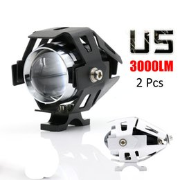Wholesale Cree Motorbike Spot Lights - 2x 125W 2 Color Waterproof Motorcycle LED Headlight 3000LM CREE U5 Motorbike LED Driving Fog Spot Head Light Lamp MOT_200