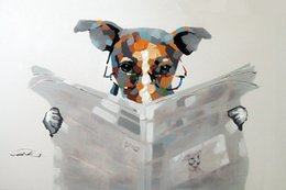 Wholesale Art Newspapers - Framed Dog Reading Newspaper Article Terrier Specs,Genuine Handpainted Cartoon Canine Art oil Painting Canvas,Museum Quality Multi size J068