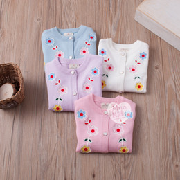 Wholesale Machine Embroidery Cotton - In stock 4 color INS styles new arrival Plum embroidery children long sleeved Cotton wool cardigan kids girl casual cute cardigan free ship