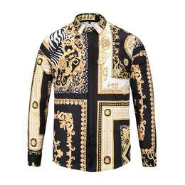 Wholesale Leopard Print Sleeves - newest 2017 mens shirts fashion design luxury brand shirt men long sleeve casual medusa shirts M-3XL