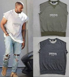 Wholesale Style For Men Tees - Kanye West Yeezus Tour T Shirt Sleeveless Hip Hop Street Style Tee Shirt Curl Sleeve For Men