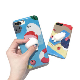 Wholesale Iphone Stripes - Lovely 3D Sea Lion Case for iphone 7 Cartoon Polar Bears Stripe Cat Soft TPU Back Cover for iphone 7 7plus 7s 7splus