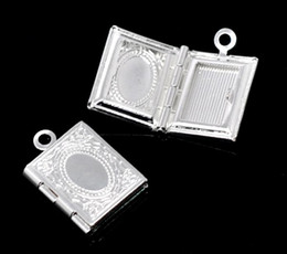 Wholesale Christmas Photo Picture Frame - DoreenBeads Frame Pendants Picture Photo Locket Rectangle Silver Plated(Fits:6x9.5mm)17x12mm,20PCs
