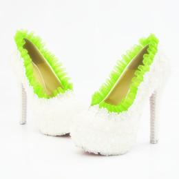 5 8 11 14 CM talons dentelle blanche avec vert lime trim chaussures de bal de soirée haute talons de mariée demoiselle d'honneur fait à la main chaussures de mariage 317 ? partir de fabricateur