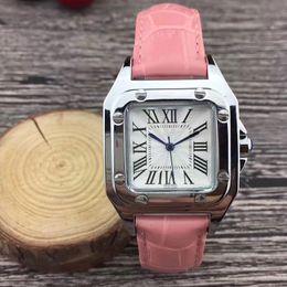 montres de poignet carré Promotion Mode femmes montres de luxe 32mm Cadran Carré Bracelet En Cuir Robe Quartz Montre Pour Dames Filles Femelle Meilleur Cadeau Montre Femme