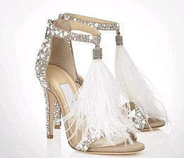 Wholesale Small Heeled Silver Shoes - Summer Newest Pearl Cover Women Fashion Sandals Fringe High Heels Zipper Back Ladies Sexy Wedding Shoes Small Rhinestone Shoes