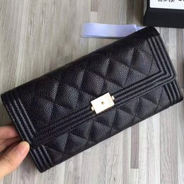Wholesale Wallet Big - Free shipping Top quality calfskin leather big logo wallet women's genuine leather long wallet fashion clutch purse with box