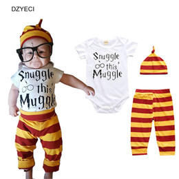 Wholesale Girl Set Pants Stripes - Baby Boy Girl Set 3PCS Snuggle This Muggle Bodysuit Stripe Pants Hat Summer Newborn Suit Cotton Tracksuit Toddler Layette Clothes Costume