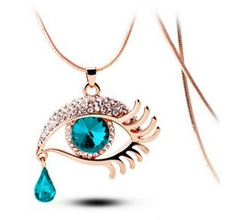Wholesale Eyelashes Rhinestones - Beautiful Clear Rhinestone Eye With Blue Green Yellow Crystal Eye Ball Teardrop Gold Eyelash Long Necklace For Women Party Jewelry