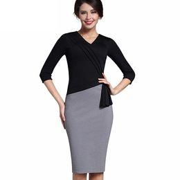 519b1fe5758 New Mature Elegant V-neck Warm Stylish Wiggle Work dress Office Bodycon  Female 3 4 Sleeve Sheath Woman Dress DK010YS