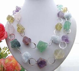 Wholesale Necklace Semi Precious - Stunning! 22x24mm Semi-Precious Stone Rough Necklace