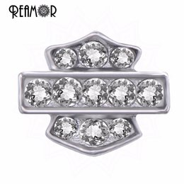 Wholesale Full Float - Wholesale- REAMOR Motorsycle Logo Charms Floating Full Crystal Alloy Charms For Glass Living Locket Wholesale