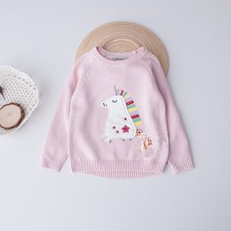 Wholesale Horse Pullover - Everweekend Girls Colours Sea Horse Embroidered Sweater Cute Baby Tassel Pink and Blue Color Fall Tops