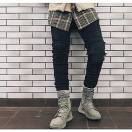 Argentina Pantalones streetwear al por mayor-Hiphop de alta calidad para hombre Ripped Jeans de algodón BlackSlim Fit Jeans de motocicleta Hombres Vintage Distressed Denim Jeans supplier mens cotton motorcycle pants Suministro