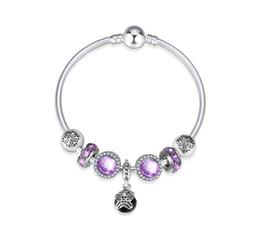 Wholesale Purple Butterfly Charm Bracelet - Top Quality Purple Gemstone Bracelet Silver Charm Beads Butterfly Bead Dangle Fit European Pandora Snake Chain Bracelet & Necklace Women
