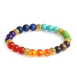 Wholesale Beads Agate - 8 mm Beads Mens Bracelets 7 Chakra Healing Reiki Prayer Natural Stone Charm Bracelet Balance Yoga Bracelet Male Jewelry 162110