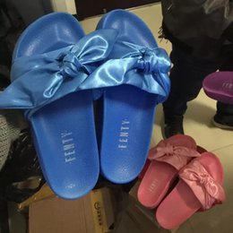 Wholesale White Beach Bags Wholesale - 2017 New Arrival Fenty Leadcat Rihanna Shoes with Bow Box Dust Bag Women Slippers Indoor Sandals Girls Fashion Scuffs