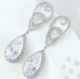 Wholesale Big Teardrop Earrings - Blue And White Cz Stone Teardrop Big Stud Earrings For Women Hot Selling Luxury Fashion Jewelry Christmas Holiday Gifts For Female Friends