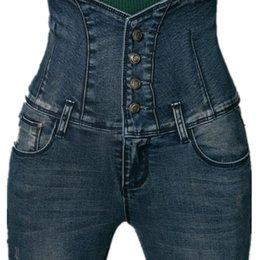 Wholesale 34 Size Breast Women - Wholesale- Fashion Women High Waist Skinny Jeans Women Single Breasted Elastic Pencil Pants long trouser Plus Size 26-34