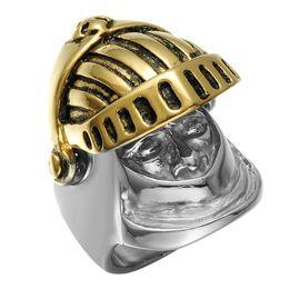 Wholesale helmet punk - Hig quality Stainless Steel Rings Punk Silver&gold Color Knight Helmet Cross Ring Men Titanium Steel Ring wholesale