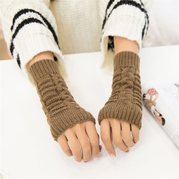 2017 Mode Gants Sans Doigts Pour Femmes Hommes Hiver Chaud Laine À Tricoter Bras Gants Unisexe Doux Chaud Mitaines Femme Gants ? partir de fabricateur