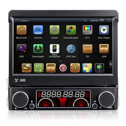 Wholesale Bluetooth Autoradio - 7 inch 1 Din Car DVD AutoRadio GPS Player Android 4.4.4 Wifi With Motorized Retractable Monitor Removable Panel Anti-theft Universal DR7091