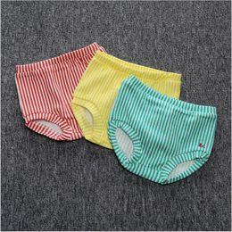 Wholesale Underwear Panties Boys Kids - Baby PP Pants Summer Panties Kids Soft Cotton Underpants Boys Cartoon Panty INS Striped Panties Toddler Fashion Underwear Bloomer Diaper K61